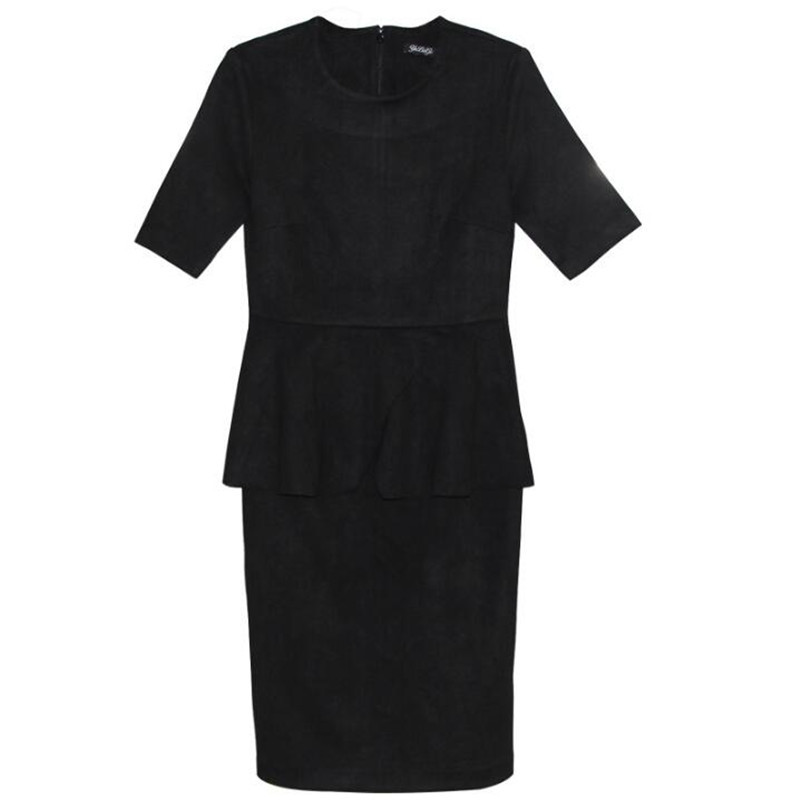 7f2ddb336820 Women Spring Autumn Dress Black Office Wear Female Dress Ruffles Design  Thicken Plus Size Xl 2Xl 3Xl Ladies Dresses A3525-in Dresses from Women's  Clothing ...