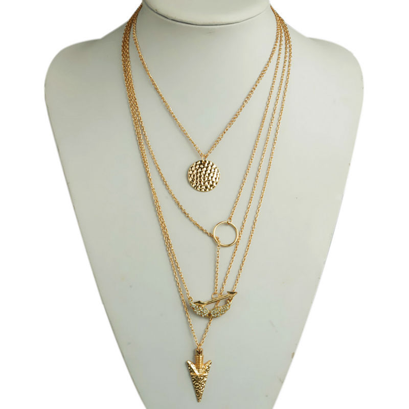 Fashion ladies chains and necklaces Cheap Gold Multi Layer Necklace
