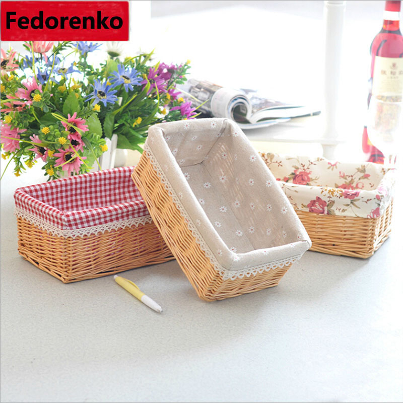 Willow Wicker Storage Basket With Liner For Home: Willow Wicker Storage Baskets With Liner For Home