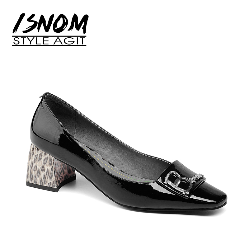 ISNOM Women Shoes High Patent Leather Woman Pumps Square toe Leopard Print Shoes Casual Footwear Female Thick Heels Pumps 2019ISNOM Women Shoes High Patent Leather Woman Pumps Square toe Leopard Print Shoes Casual Footwear Female Thick Heels Pumps 2019