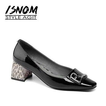 Zapatos de mujer ISNOM, zapatos de mujer de charol alto, zapatos de tacón cuadrado con estampado de leopardo, zapatos calzado informal para mujer, zapatos de tacón grueso 2019