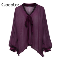 Clocolor Women Top V Neck Puff Sleeve Lace Loose Black Red Patchwork Plain Pleated Autumn Fashion