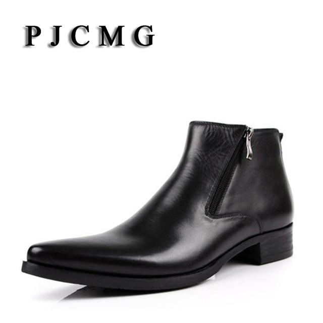 PJCMG Yeni inek derisi çizmeler Hakiki Yumuşak Deri Çizmeler Sivri Burun Nefes Bullock Desenler Oxford Elbise Ayakkabı Erkekler Için Çizmeler