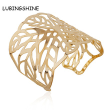 LUBINGSHINE Fashion Gold hollow out Woman Bracelets Leaf Flower Bangles For Women Punk Bracelet Gift Bangles Jewelry JJAL B406