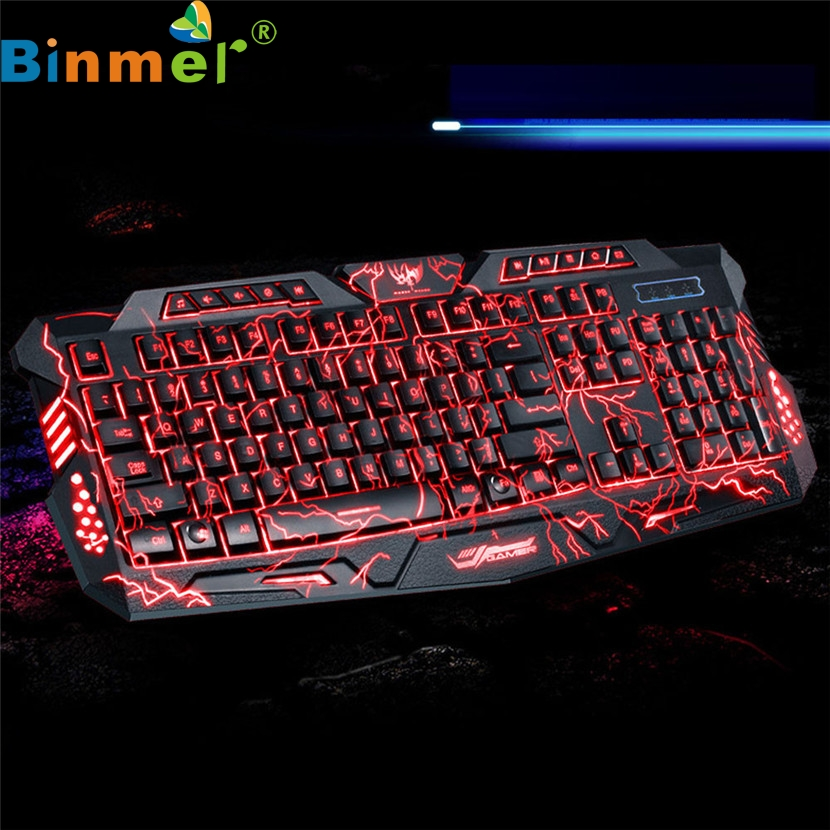 Binmer Mecall 3 Colors USB Illuminated Led Backlit Backlight Gaming Crack Keyboard M200