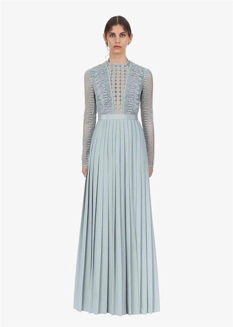 2019 new arrive pleated long dress full sleeve light blue elegant women party dress