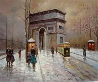 Free shipping cloud day &triumphal arch reproduction realist scenery artwork printed oil painting WK (296)