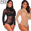 2016 Malha Sexy Mulheres Jumpsuit Bodycon Preto de Fitness Spandex Transparente Mulheres Bodysuit Romper Partido Geral Playsuit Manga Longa