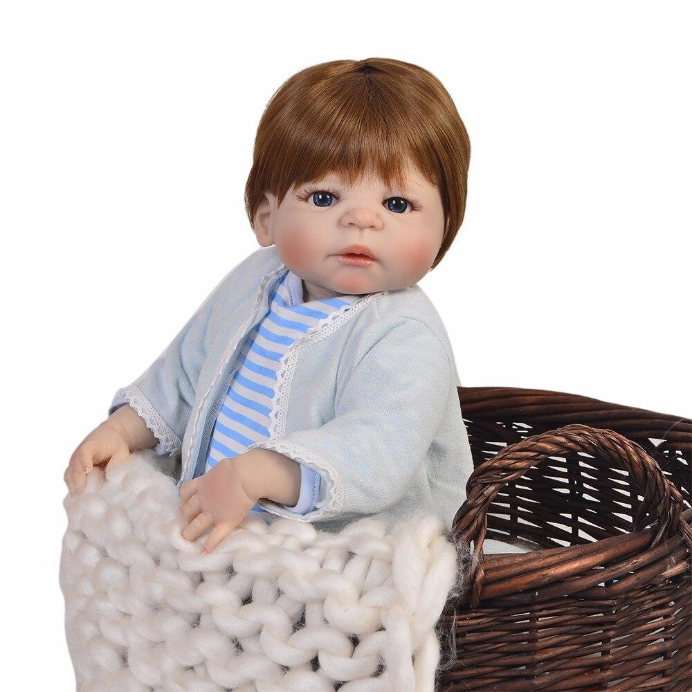 Biała skóra Reborn Baby Dolls 23 Cal ręcznie noworodka chłopiec pełna silikonowe winylowa lalka zabawka z brązowy niebieski oczy kąpać zabawki w Lalki od Zabawki i hobby na  Grupa 1