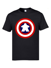 Captain America Tshirts Logo 100% Cotton Men 3D Meeple Craft T-shirts Top Quality Clothing Shirts Mens Tees
