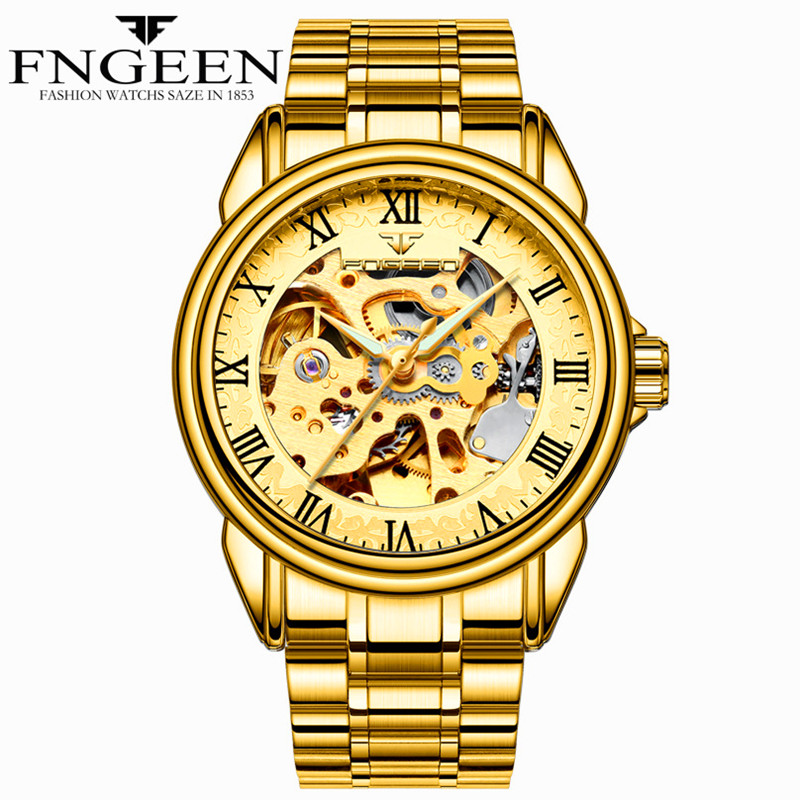 Permalink to Automatic Mechanical Watch Men Stainless Steel Waterproof Gold Skeleton Watch Top Brand Luxury Sport Relogio Masculino
