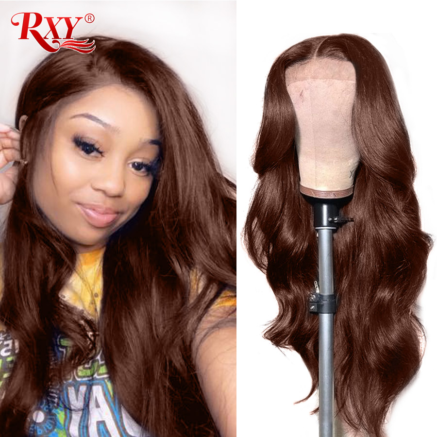RXY 360 Lace Frontal Wigs Pre Plucked With Baby Hair Brazilian Wavy Wig 250 Density Lace Wig Remy Lace Front Human Hair Wigs