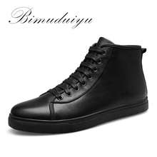 BIMUDUIYU Autumn Winter Handmade Genuine leather Men Boots Warm Fur Plus Size Winter Shoes Lace Up Ankle Boots For Russian
