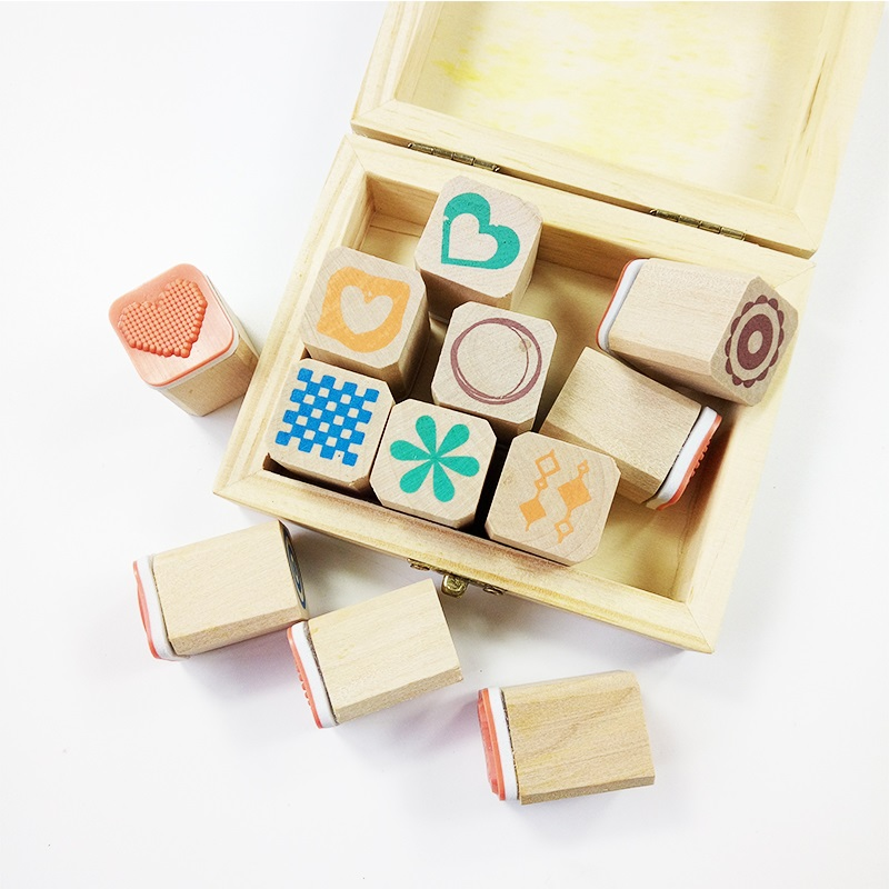 12 Pcs/set Cute Wooden Box Diary Stamp Set Wood Stamps For Kids Decor Diary DIY Scrapbooking Rubber Stamp Letters 5x10ft thin vinyl photography christmas background computer printed children photography backdrops for photo studio l 845