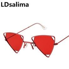 2419f8c7a7385 Triângulo triângulo Óculos De Sol Armação De Metal Mulheres Óculos de Sol  Do Vintage Gato Olho