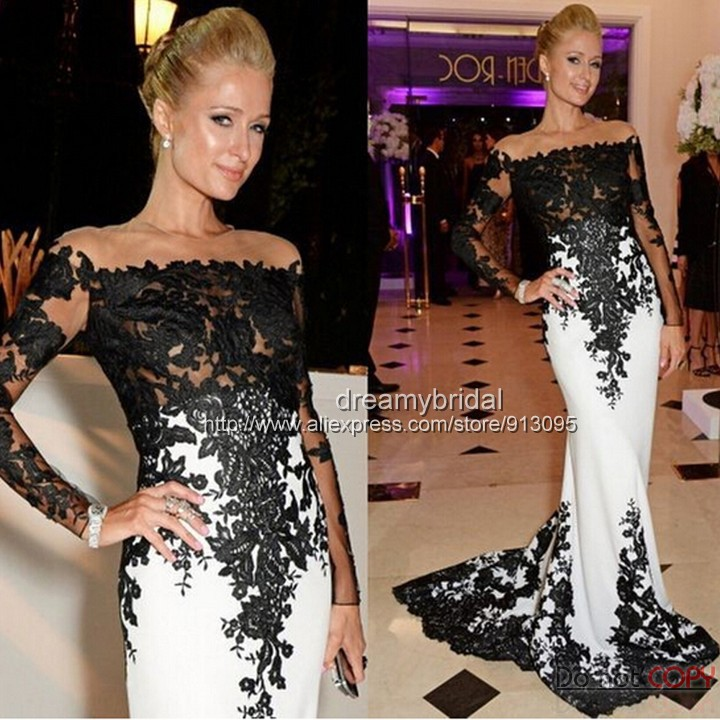 Sheer Long Sleeve Black Lace White Sheath Evening Dresses 2015 Shoulder Court Train Celebrity Prom - Suzhou dreamybridal Co.,LTD store
