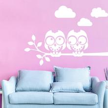 Owls On the Tree Wall Stickers Animals Cloud Sticker for Children Room Decals Baby Poster