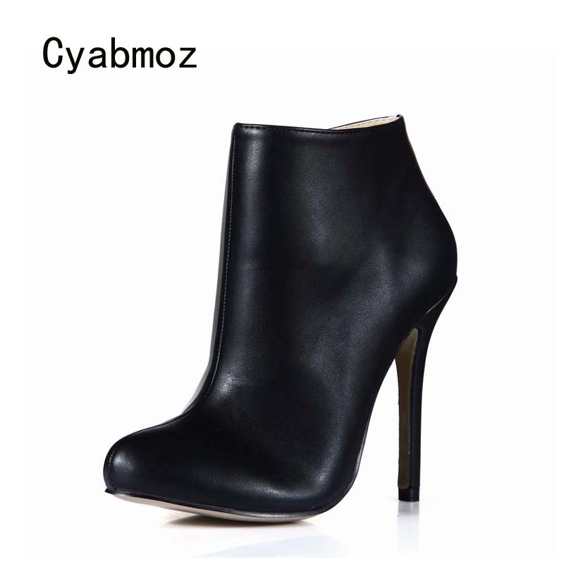 Cyabmoz Shoes Woman Ankle boots Women Winter High heels PU Leather Zapatos botas Mujer invierno Party Dress Valentine Shoes