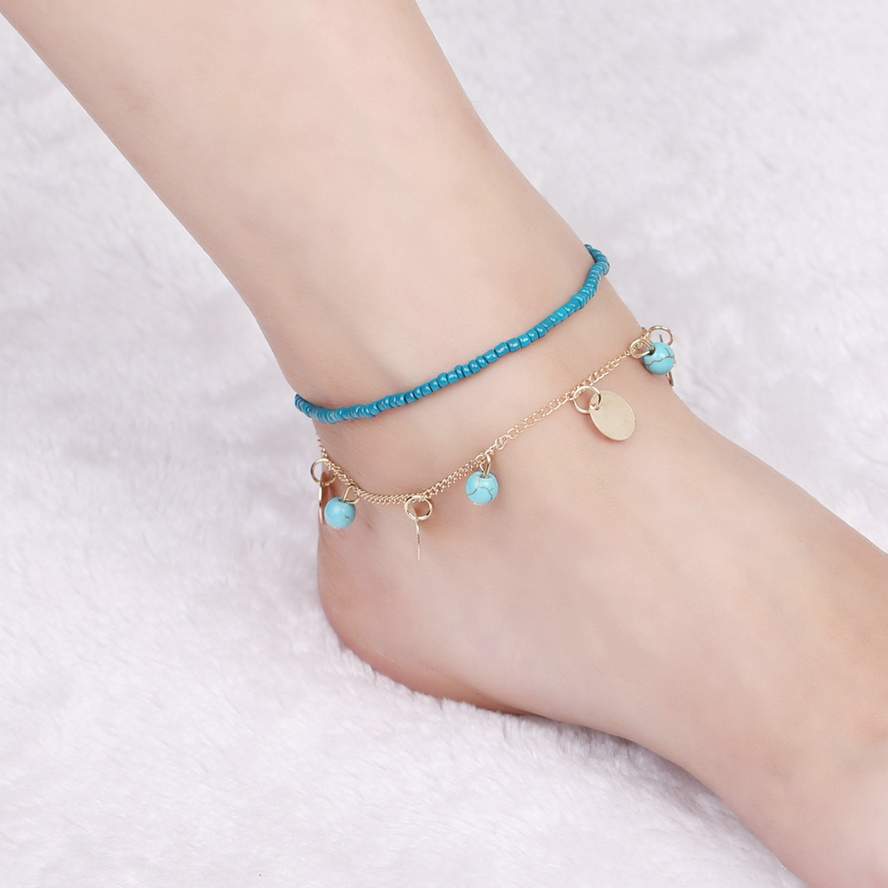 Lady Vintage Boho Feather Wafer Turtle Pendant Beach Foot Jewelry Barefoot Sandals Anklets for Women Sexy Chain Cheville Bijoux