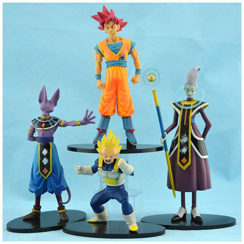 Action figure toys Dragon ball Battle of Gods Super Saiyan God Goku Vegeta Whis Beerus PVC Action toys For Kids Gift  4pcs N095 ydaenerys anime figure dragon ball vegetto super saiyan god blue hair kakarotto vegeta goku action figure toys model kids gift