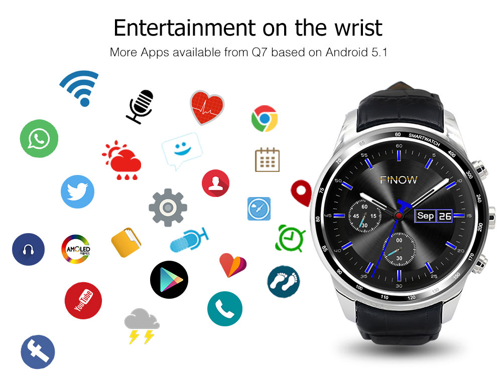 Finow Q7 plus smart watch Men Wearable Devices 0 3MP Camera 3G Smartwatches  support 32GB TFcard Wifi BT watch phone for Android