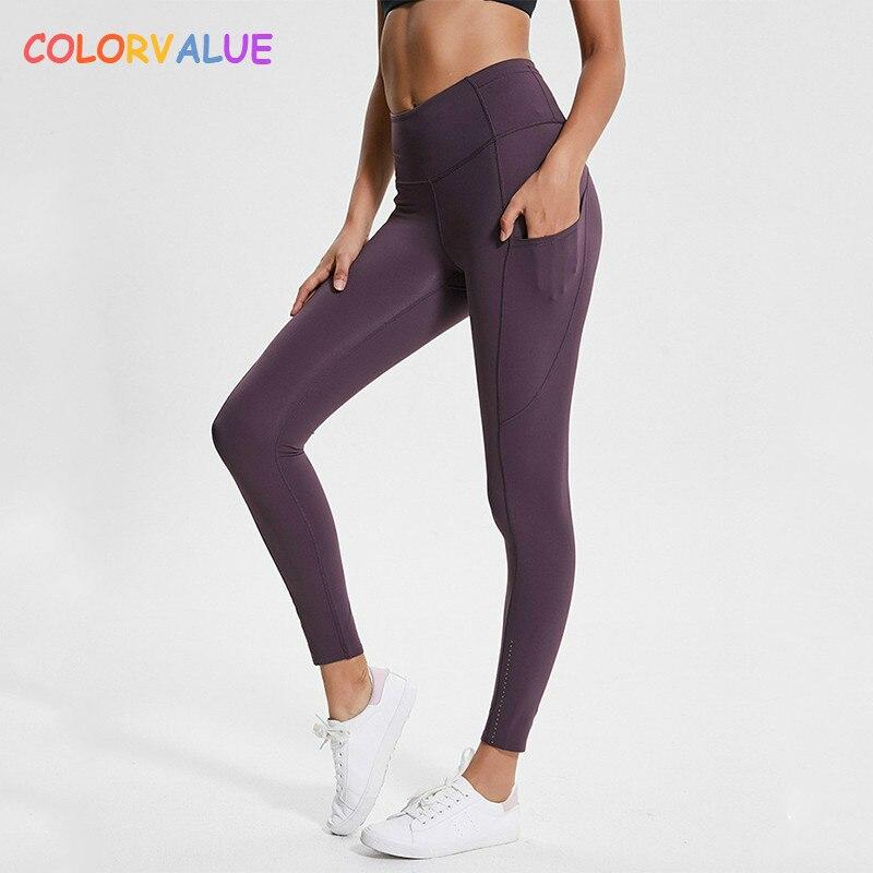 Colorvalue Reflective High Waist Workout Sport Leggings Women Squatproof Soft Nylon Fitness Gym Tights Yoga Pants with Pocket цены