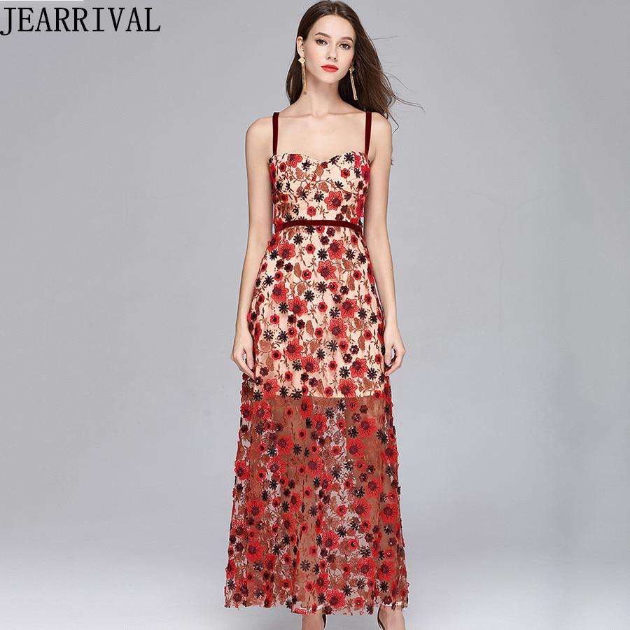 2018 nouveau été mode Sexy piste robe femmes Spaghetti sangle fleur broderie Patchwork Vintage Club robe de soirée Vestido