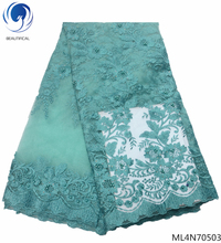 BEAUTIFICAL lace african fabrics tulle laces designer fabric white high quality 5 yards/lot ML4N705
