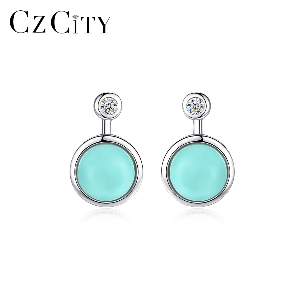 turquoise stud earrings 925 Sterling pure Silver 4mm round cabochon stone