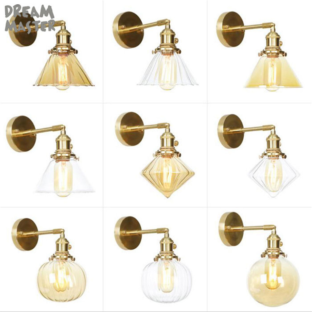 Modern amber clear glass shade Wall Lamp Sconce Led Bedroom Wall Light Fixture for Home Decor Nordic Foyer Living Room LuminaireModern amber clear glass shade Wall Lamp Sconce Led Bedroom Wall Light Fixture for Home Decor Nordic Foyer Living Room Luminaire
