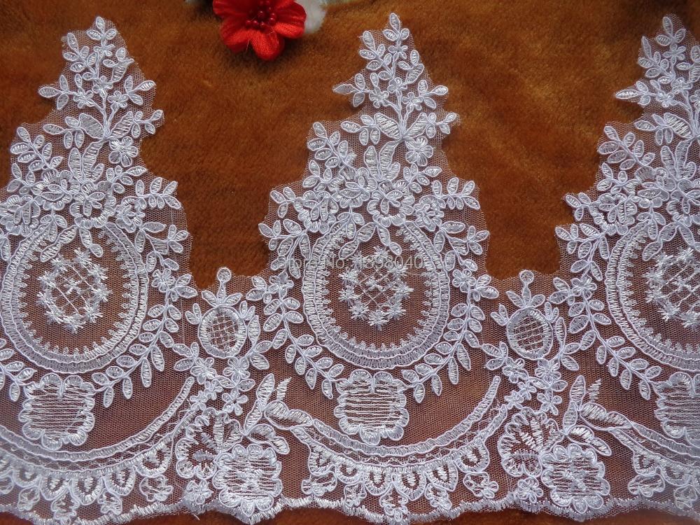 Velkoobchod Doprava zdarma Vysoce kvalitní bílé dlouhé krajkové doplňky pro šaty svatební šaty sukně šíře 26cm 5,4 m / lot
