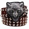 Remache de Metal salvaje cinturón de hebilla de metal correas de los hombres cabeza de Leopardo animales correa del estilo del punk rock heavy metal grande remache tendencia cinturón faja