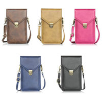 Dual Layers PU Leather Cell Phone Bag Case With Shoulder Strap Cross Body Wallet Pouch For