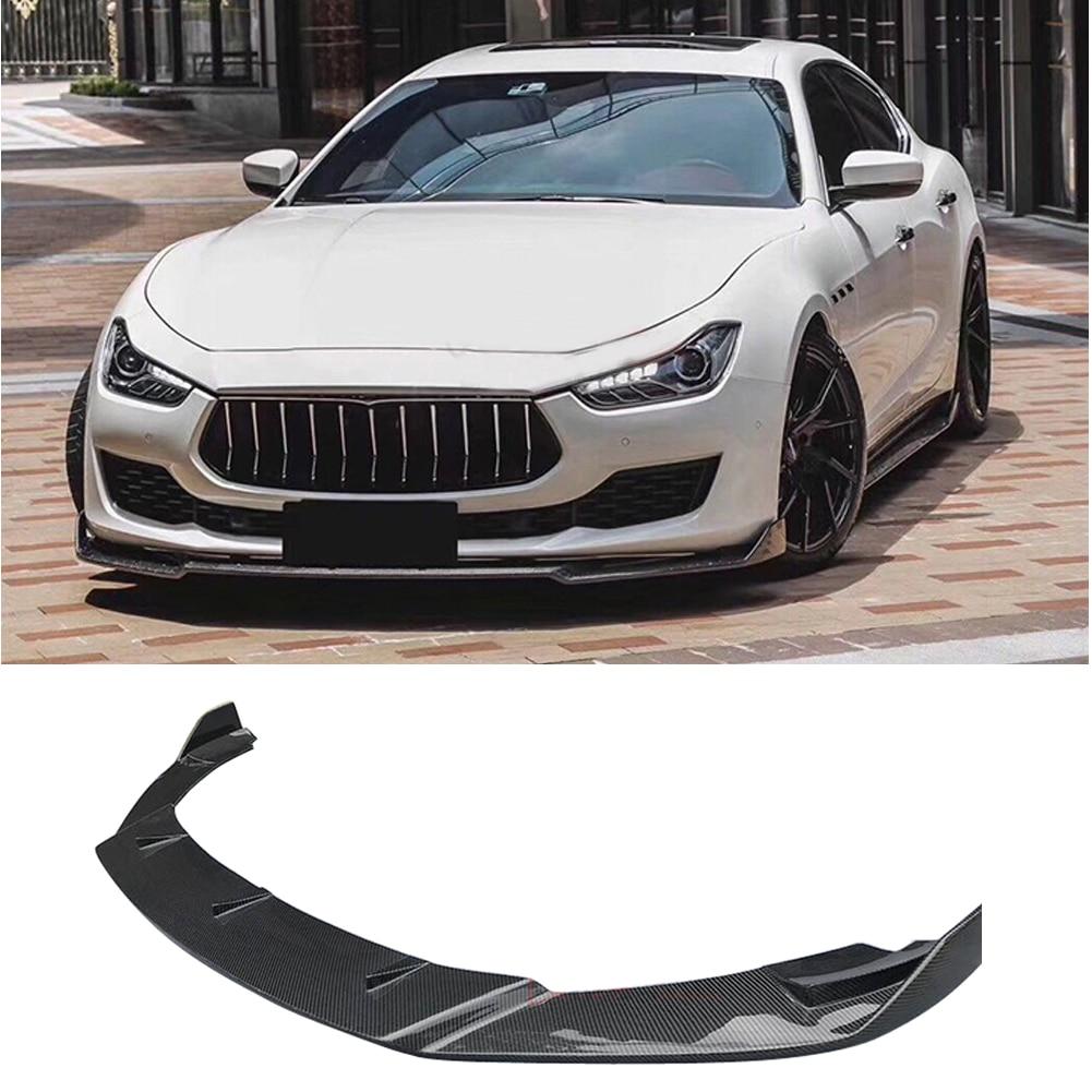 คาร์บอนไฟเบอร์ด้านหน้ากันชน Splitter ผ้ากันเปื้อน bodk ชุดสำหรับ Maserati Ghibli 18-Up