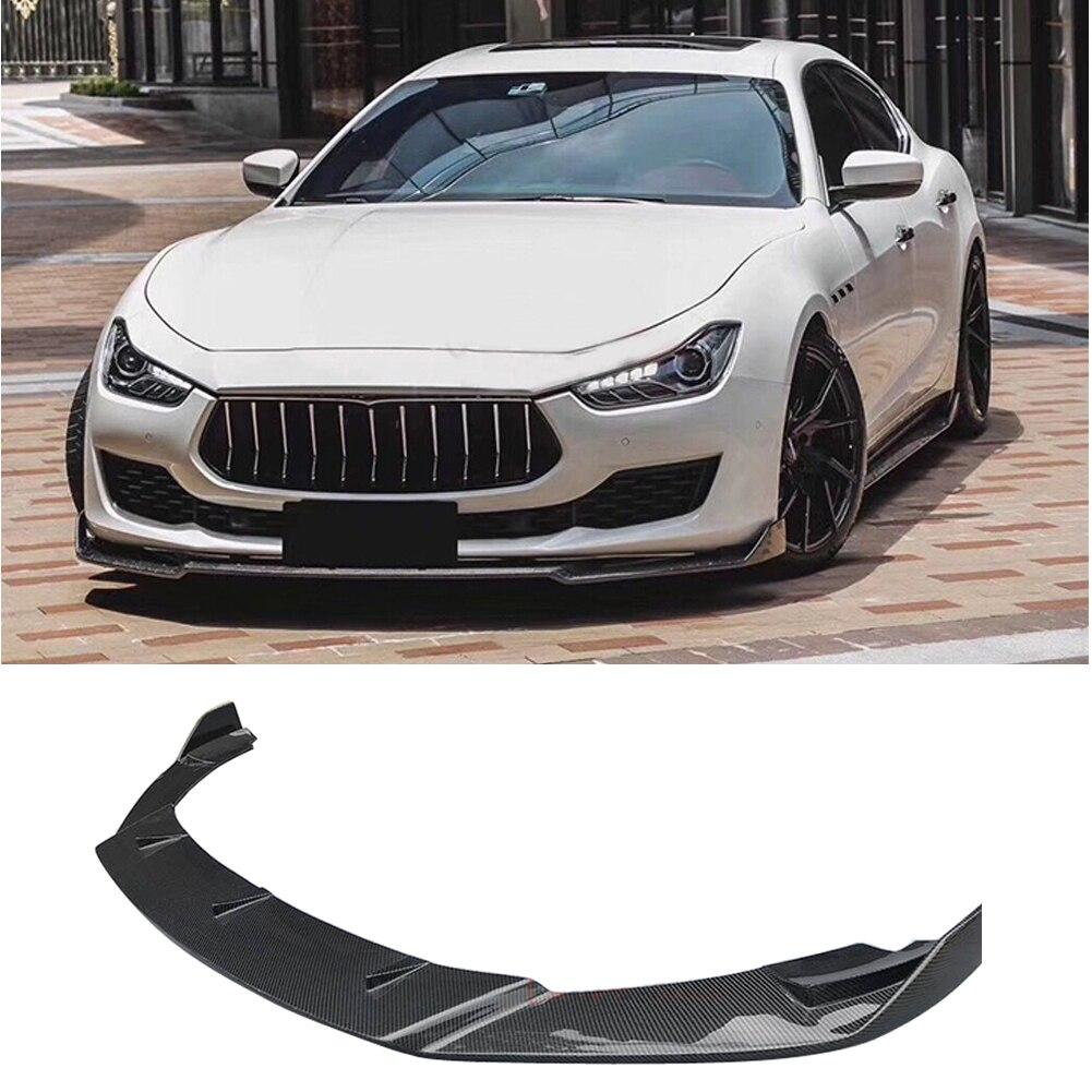Fibra de carbono parachoques delantero del labio Splitter delantal bodk kit para Maserati ghibli 18-up