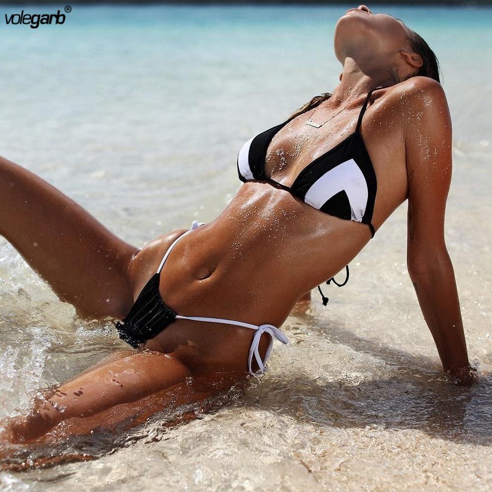 все цены на Volegarb 2018 Bikini Set Multi-color Swimwear Women Sexy Bench Swimsuit Bathing Suit Thong Biquini Brazilian Maillot De Bain