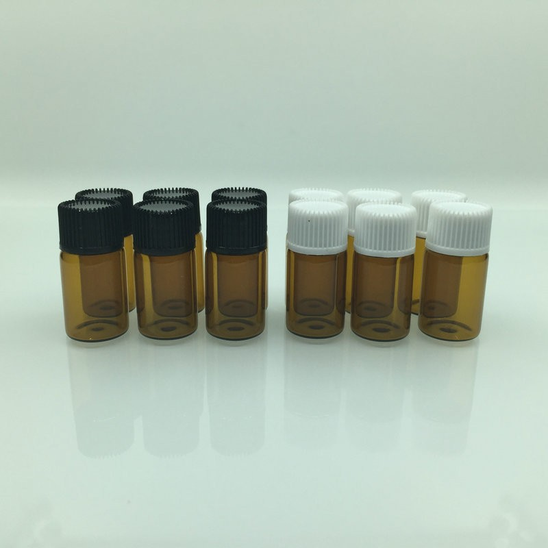 100pcs/lot 1/2/3/5ml Amber Mini Glass Bottle For Essential Oils Empty Transparent Sample Vials Small Essential Bottles 100 pcs lot of small glass vials with cork tops 1 ml tiny bottles little empty jars