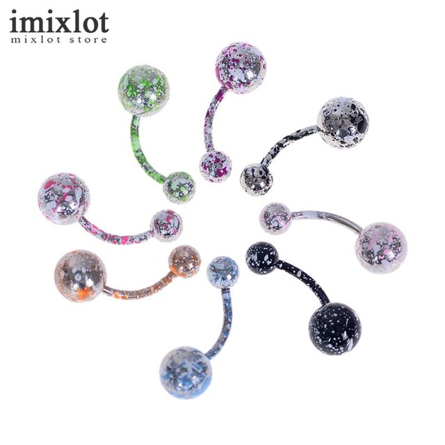 Us 2 45 8pcs Lot Double Balls Curved Barbell Piercing Belly Button Rings 18g Navel Piercing Nombril Ombligo Steel Body Jewelry In Body Jewelry From
