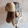 Rabbit sheepskin Lei Feng  fur  men and women tide winter thick leather ear warm middle-aged cotton cap Russian bomber hat