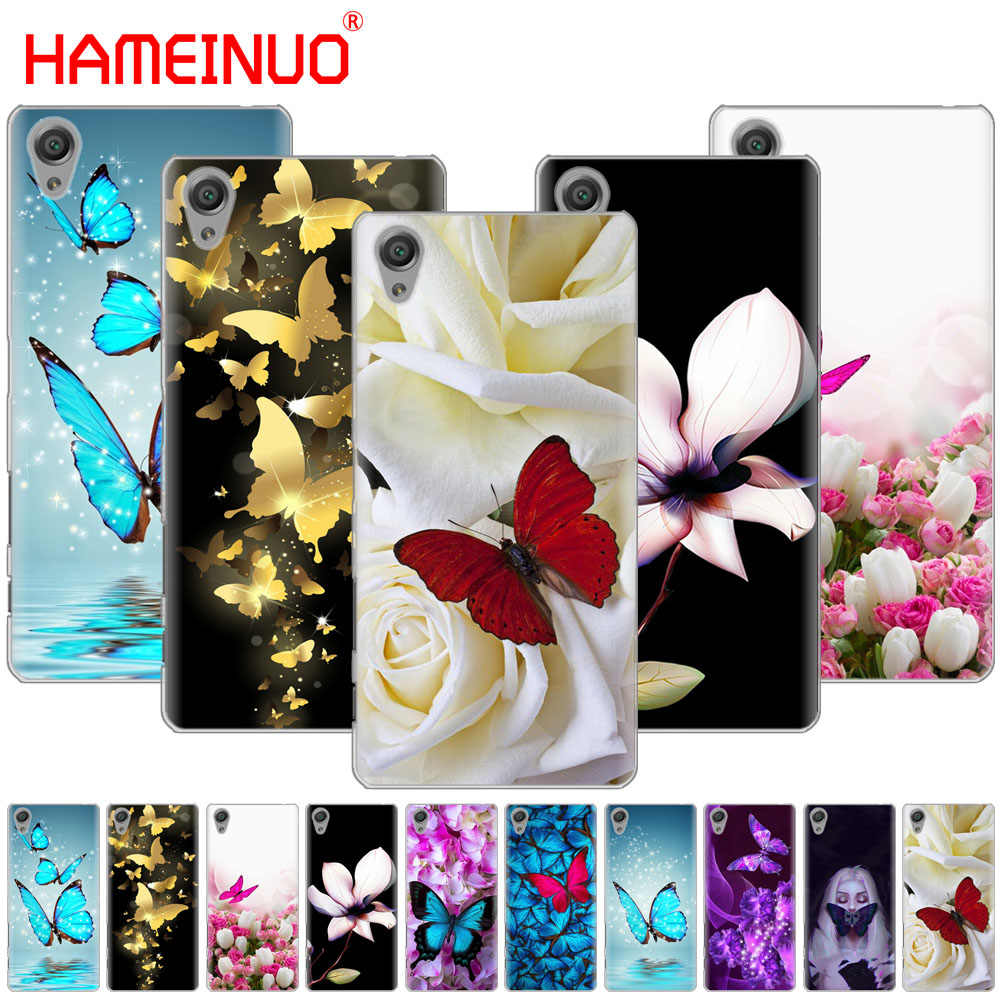 HAMEINUO butterfly on white roses flower Cover phone Case for sony xperia z2 z3 z4 z5 mini plus aqua M4 M5 E4 E5 E6 C4 C5