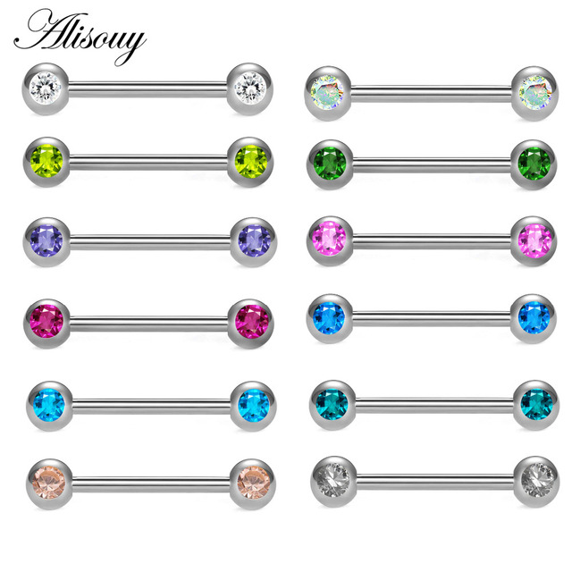 Alisouy 1pc Stainless Steel Internal Thread Tongue Barbell Piercings Straight Barbells Earring Rings Body