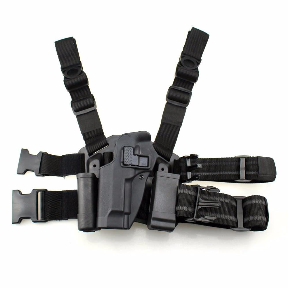 Left Hand Tactical M92 Leg Holster Paddle Thigh Belt Drop Pistol Gun Holster with Magazine Torch