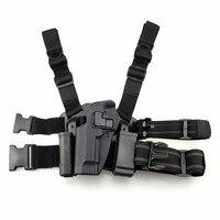 Left Hand Tactical M92 Leg Holster Paddle Thigh Belt Drop Pistol Gun Holster with Magazine Torch Pouch for Beretta M9 M92