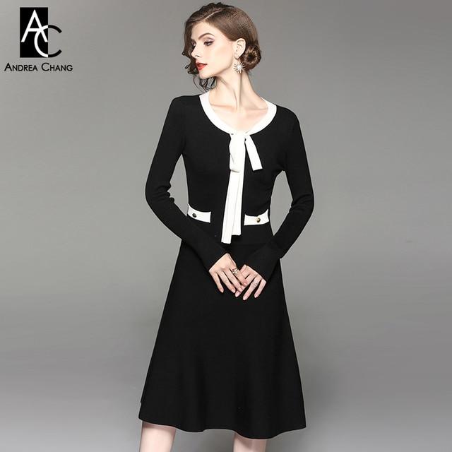 26c80053fcda4 İlkbahar sonbahar kadın elbise pamuk karışımları siyah örme elbise beyaz  yakalı yay cepler altın düğmeleri eski