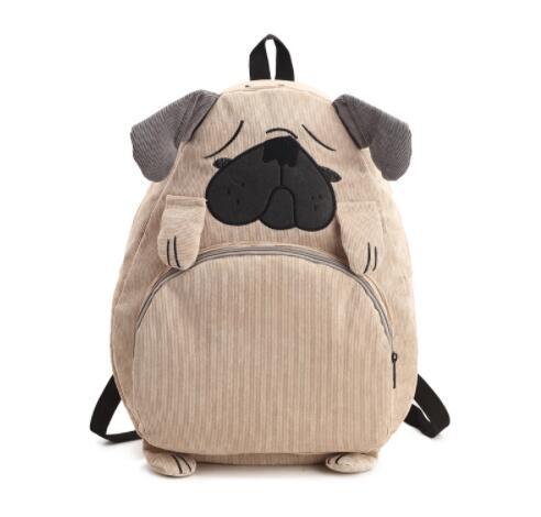 Hot New Harajuku Animal Pug Bag Original Cloth Backpack Junior High School Mochila Fox Autumn Women Men Corduroy Schoolbag In Backpacks From Luggage