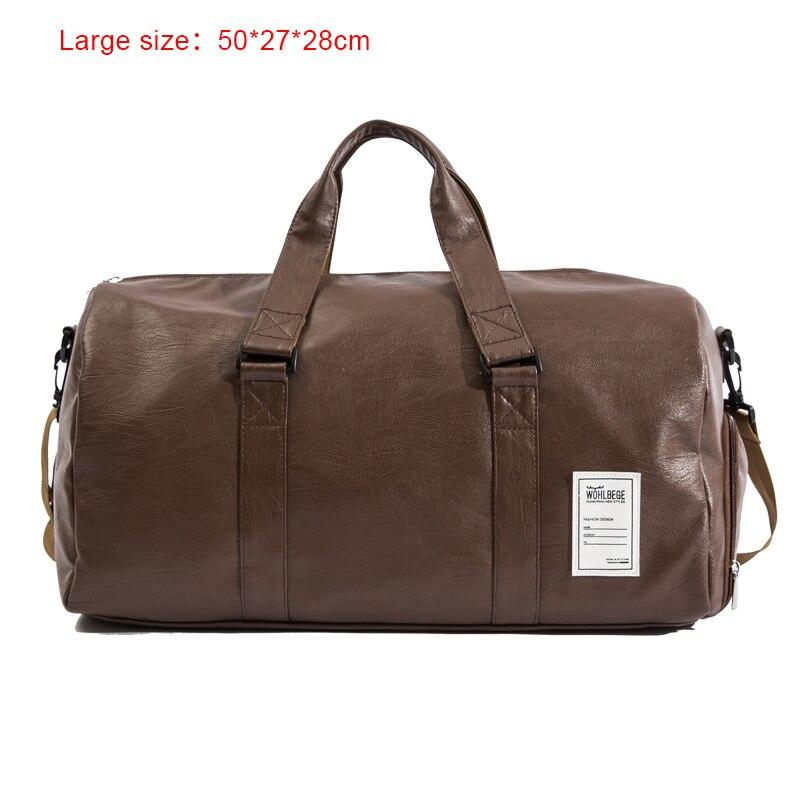 Мужская Дорожная сумка в стиле Лолиты, большая спортивная сумка, независимая обувь для хранения, большая сумка для фитнеса из искусственной кожи, женская сумка, сумки для багажа, спортивная сумка - Цвет: Brown