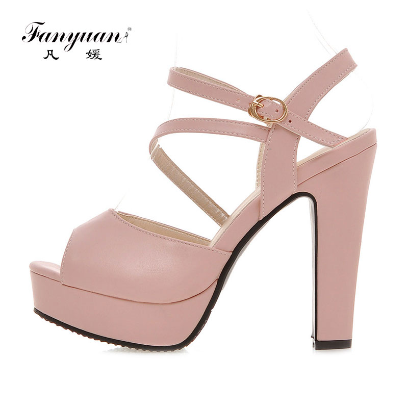 Fanyuan Ladies <font><b>Sandals</b></font> Peep Toe Ultra High Heels <font><b>12</b></font> <font><b>cm</b></font> Elegant Ankle Strap Summer <font><b>Sandals</b></font> Women Solid Color Party Wedding Shoes image