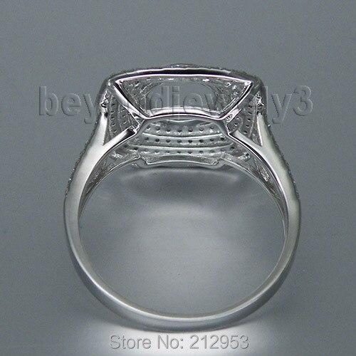 Круглый 7x7 мм 14kt белого золота Обручальные кольца Природный Маунт Semi sr00218a
