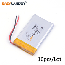 10pcs /Lot 3.7v lithium Li ion polymer rechargeable battery 333455 600mah for MP5 GPS DVR Toy