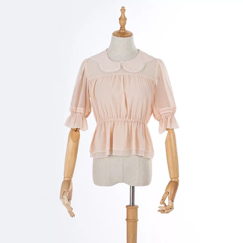 3 Colors Adult Women Summer Chiffon Ruched Blouse Lolita Batwing Collar Shirt With 1/2 Sleeves Sweet Loose Corset Top For Ladies